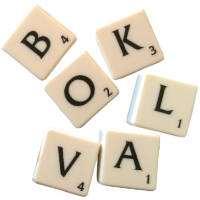 Ordet bokval skrivet med Alfapetbokstäver.