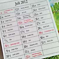kalenderblad för juli månad.
