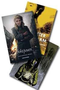 Bildcollage av bokomslag till Jag heter inte Miriam, Boktjuven och Jag & min pappa & Zlatan.