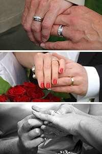 Hopklipp av tre foton på händer med ringar. Foto: Kevin D. Clarke, Flickr / Danielle, Flickr / Anders Dahlqvist