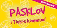 Rosa text som lyder: Påsklov i Tierps kommun! samt tierp.se/lov