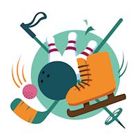 Bild med skridskor, hockeklubba, boll, stavar samt klot och kägla.