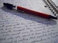 Skrivblock och penna
