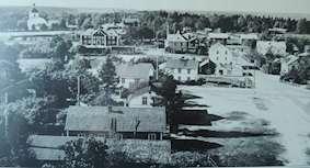 Översiktsbild över Tärnsjö för ca 70 år sedan