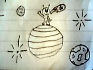 Teckning som föreställer en rymdvarelse.