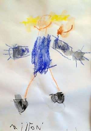 Barnteckning som föreställer Pippi med apan herr Nilsson på axeln.