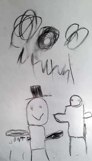 Barnteckning som föreställer Rasmus och luffaren.