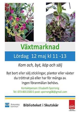 Växtmarknad på biblioteket 12 maj. kl11.00
