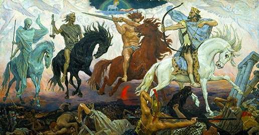 Apokalypsens fyra ryttare, målning gjord 1887 av Viktor Vasnetsov. Foto: Wikimedia Commons