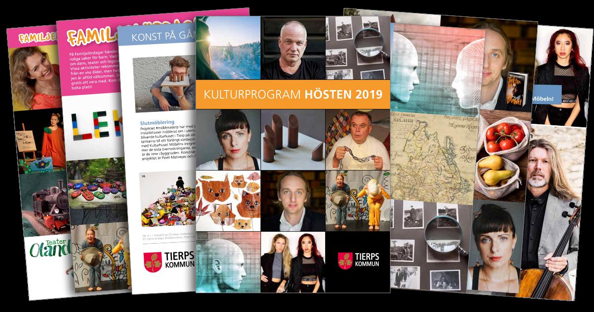 Sidor ur en broschyr med bilder på personer, foton med förstoringsglas över, målade stenar och en kartbild.