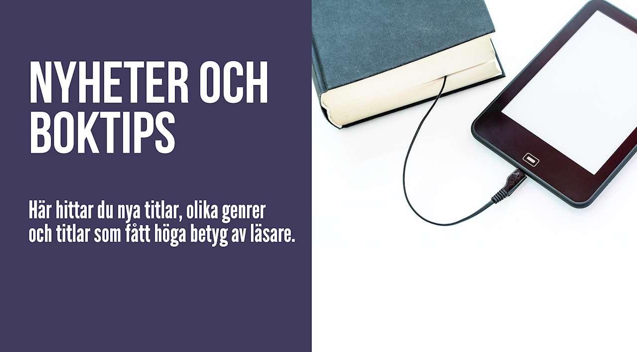 Text Nyheter och boktips. Bild på bok och en mobil enhet med sladd.